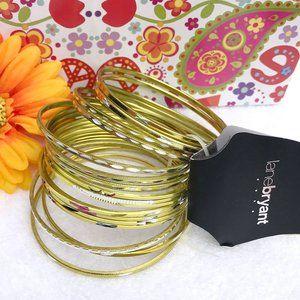 Boho Stackable Bangle Bracelet Bright Goldtone Set